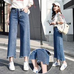 韓國復古百搭寬口牛仔長褲