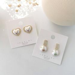 法式鑲鑽珍珠愛心耳環