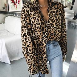 狂野時尚百搭豹紋長袖襯衫