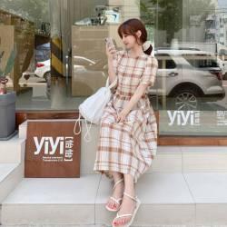 夏日復古格紋洋裝