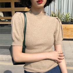 復古半高領泡泡袖針織衫