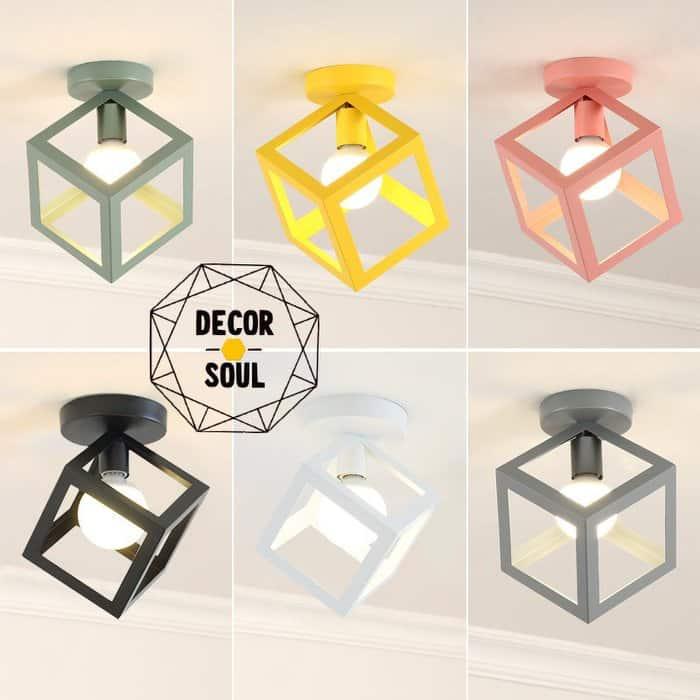 鐵藝幾何圖形造型 單頭吸頂燈 馬卡龍多色款