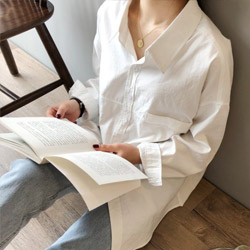 仿麂皮絨皺感長袖襯衫