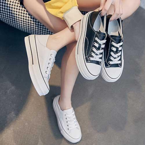 韓版二穿厚底真皮小白鞋