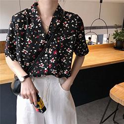 彩色碎花翻領短袖襯衫