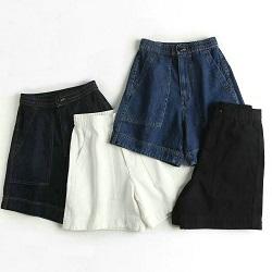 復古寬鬆高腰鬆緊闊腿牛仔短褲