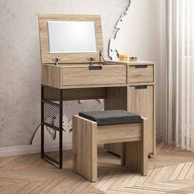 北美橡木化妝桌椅組