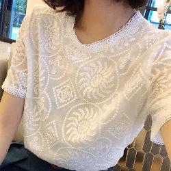 有內襯不札刺繡蕾絲雪紡衫