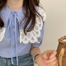 翻領蕾絲花邊繫帶甜美減齡襯衫