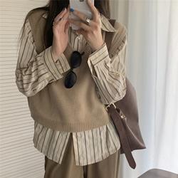 休閒條紋襯衫/V領馬甲