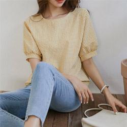 正韓清新小格紋短袖棉質上衣 (5色)