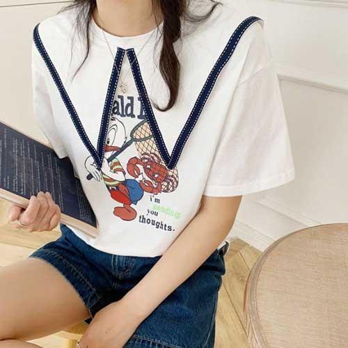 撞色尖領卡通棉質短袖T恤