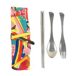 筷套+雷雕不銹鋼餐具三件組