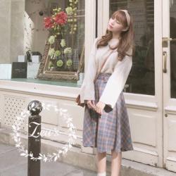 韓國秋裝新款甜美格紋A字裙