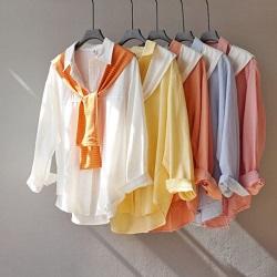 寬鬆BF風水洗棉襯衫+披肩