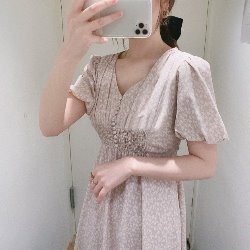 日系甜美泡泡袖繫帶連衣裙