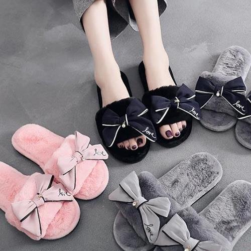 網紅同款蝴蝶結毛毛拖鞋