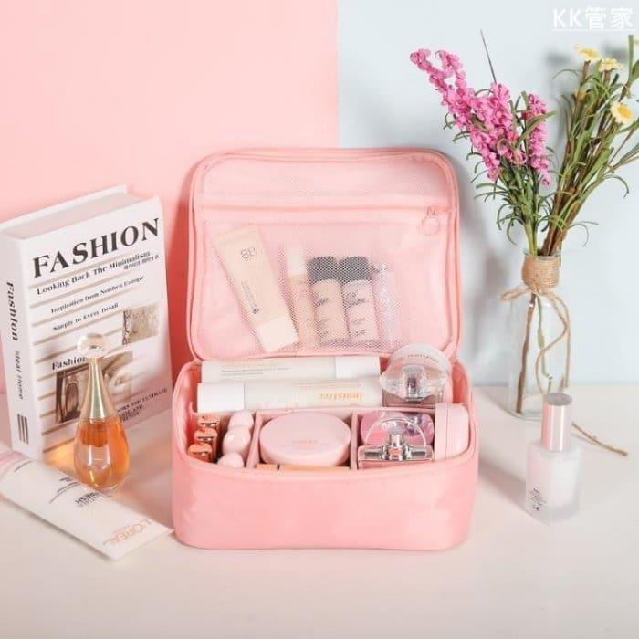 韓國旅行化妝包 簡約大容量手提收納包