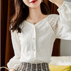 精品款-珍珠扣顯瘦燈籠袖襯衫