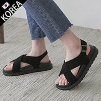 正韓麂絨交叉簡約涼鞋