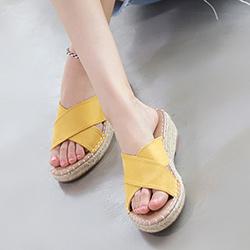 交叉拉菲草6cm楔形涼拖鞋