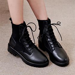 正韓牛皮針織襪靴