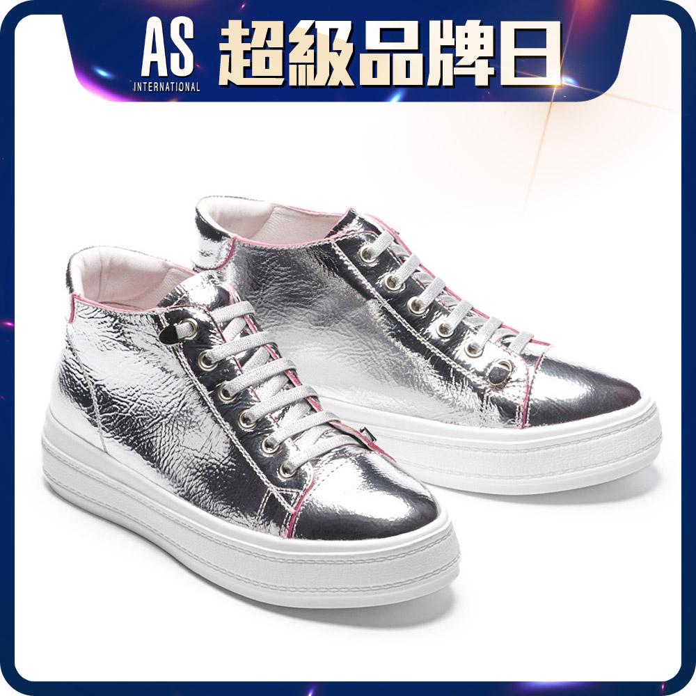 特殊金屬爆裂紋厚底鞋