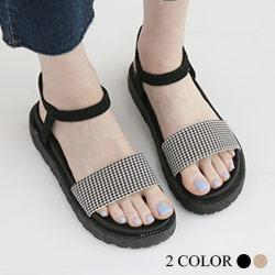 正韓千鳥格厚底涼鞋