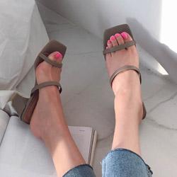 裸感氣質二字方頭方跟造型高跟涼鞋