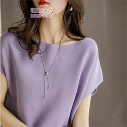 【時時樂】四季款純色蝙蝠袖針織衫