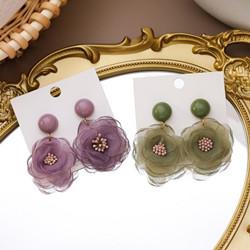 氣質甜美蕾絲花朵耳環