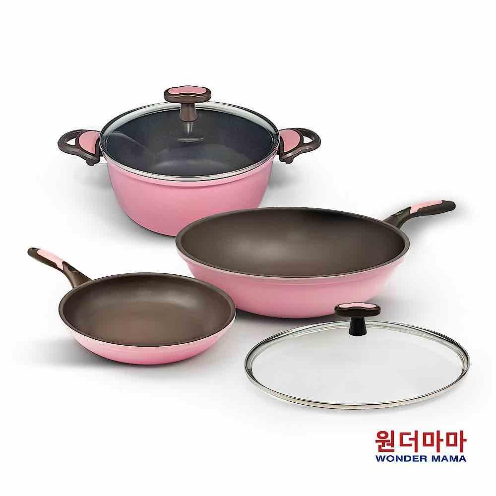 韓國WONDER MAMA粉鑽陶瓷不沾鍋具組
