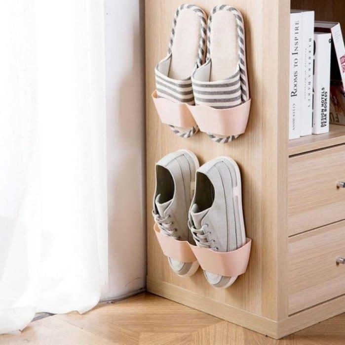 壁掛鞋子 防塵收納架門後塑料簡易收納鞋櫃