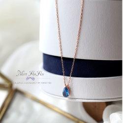 韓劇同款湛藍水滴純銀鎖骨項鍊