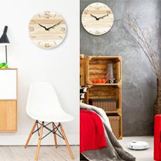 北歐簡約木紋創意時鐘