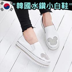 正韓厚底貼鑽貓耳朵小白鞋