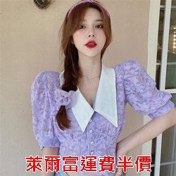 韓版娃娃領泡泡袖蕾絲衫