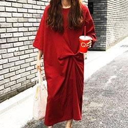 韓系 純色打結連身裙