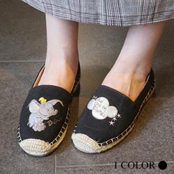 韓國大象刺繡草編鞋