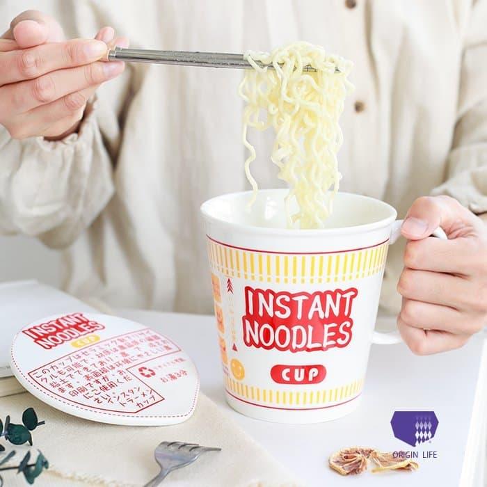 日系 可愛泡麵造型大容量陶瓷碗 紅色/藍色蓋子