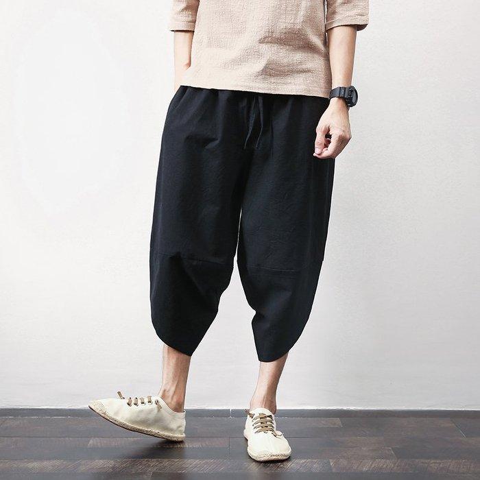 中國風大碼棉麻七分褲