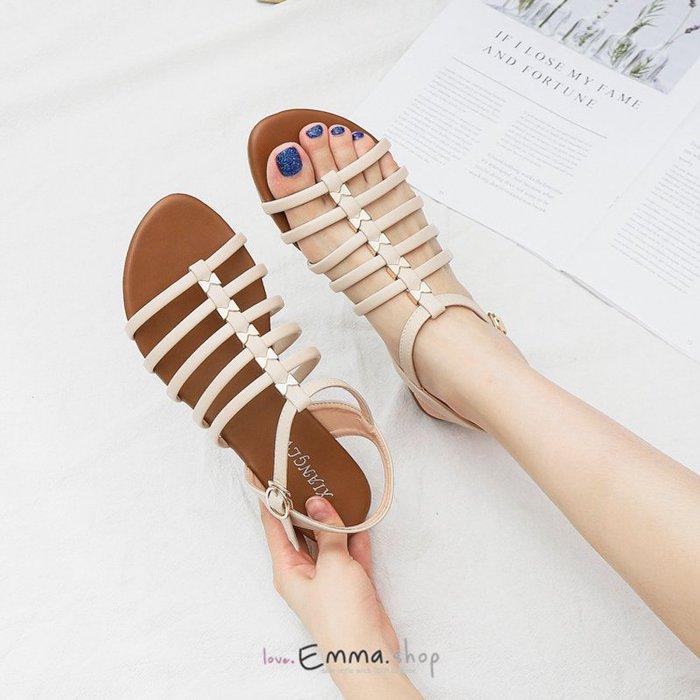 韓國同步上新款細帶魚骨涼鞋