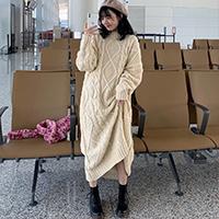 復古麻花毛衣連身裙洋裝