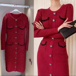 紅色喜氣赫本風優雅長袖針織洋裝