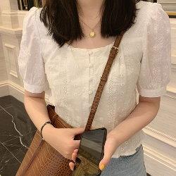 韓國法式蕾絲設計感小眾方領襯衫