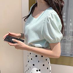 氣質婉約公主袖小方領純色上衣