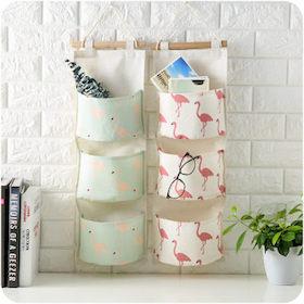 棉麻防水三格收納掛袋