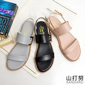 平底涼鞋 寬版側釦飾涼鞋
