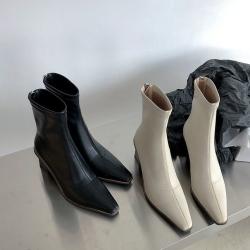 優雅木紋跟 中筒靴