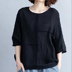 日系素色蝙蝠袖寬鬆襯衫棉麻衫